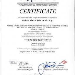 Egesil Kimya TS EN ISO 14001:2015 Sertifikası Ek:1