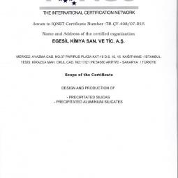 Egesil Kimya TS EN ISO 14001:2015 Sertifikası Ek:2