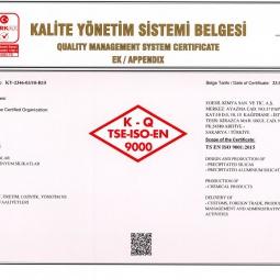 Egesil Kimya Quality Management System Certificate Ap.E