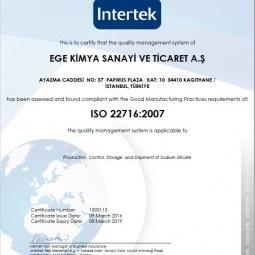 Certificate Of Comformity ISO 22716 2007