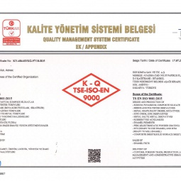 Quality Management System Sertificate ISO 9000 Appendix